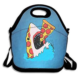 ZMvise Funny Sea Pizza Shark Lunch Tote Insulated Reusable P